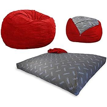 CordaRoy's - Red Corduroy Convertible Bean Bag Chair - Full