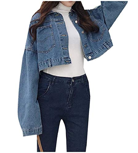 Jeans Mogogowomen Colletto Outwear Lavato Blu Denim Girocollo Scuro Con tvwvIr