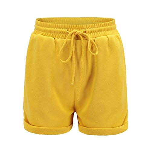 taglia Pantaloncini da Mutandine Oudan corda donna Pantaloni Giallo con vita in sportivi mini elastiche grossa chic PTUWqd