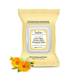 Babo Botanicals Sensitive Baby 3-in-1 Face, Hand & Body Wipes with Oatmilk & Organic Calendula, Hypoallergenic, Vegan - 30 ct.