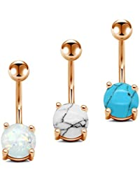3-4 PCS 14G Stainless Steel Belly Button Rings Set Women Navel Rings Graceful Synthetic Opal Marble Stone Barbell...