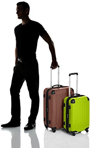 HAUPTSTADTKOFFER - Alex - 2er Koffer-Set Hartschale glänzend, TSA, 65 cm + 55 cm, 74 Liter + 42 Liter, Graphit-Gelb Braun-apfelgrün