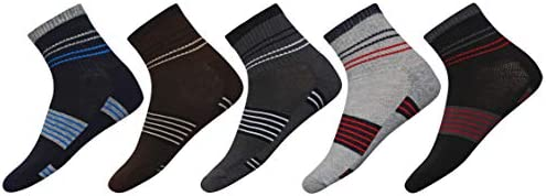 SIDEWOK Ankle Socks/Half Length Pure Cotton Printed Sports Socks For Men Combo of 5 Pair Free Size(SCS-HL-10)