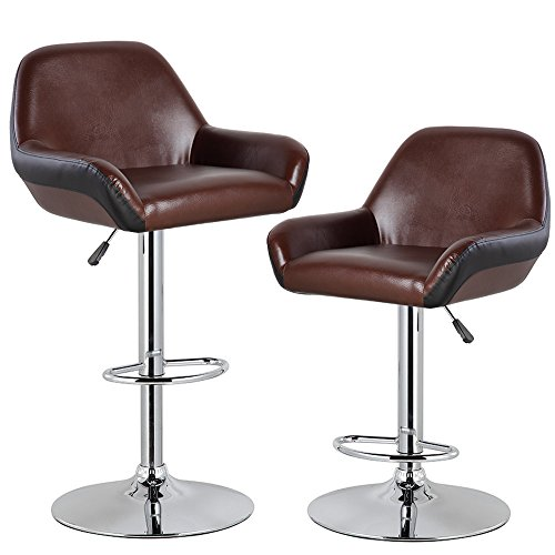 KERLAND Swivel Bar Stools PU Leather Adjustable Home Kitchen Bar Stool Chairs 2-pack, Brown-2