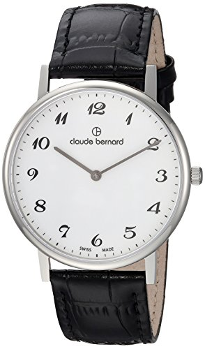 Claude Bernard mens 20214 3 BB Slim Line Analog Display Swiss Quartz Black Watch