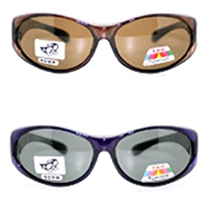 2 Pair of Women's Polarized Fit Over Oval Sunglasses - Wear Over Prescription Glasses (Purple and Brown) 2 Carrying Cases Included
