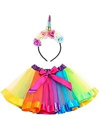 Girls Bowknot Tutu Skirt Rainbow Princess Petticoat...
