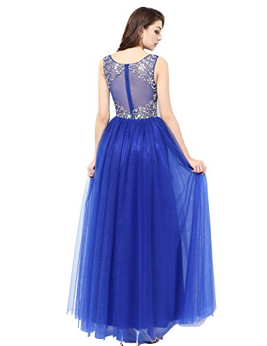 Beads Champagne Dress Long 2016 Prom Party Tulle With Gowns DRESSTELLS Evening Scoop wqvPWEqdU