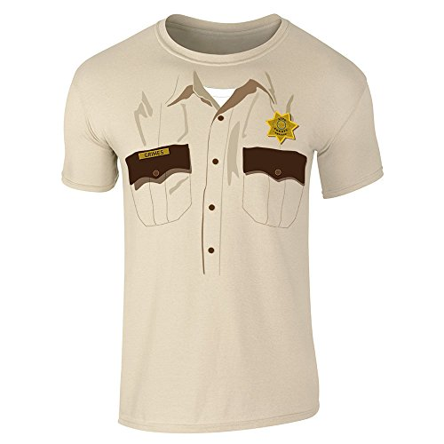 Rick Grimes Sheriff's Deputy Costume Sand S Short Sleeve T-Shirt by Pop Threads (Deputy Costume)