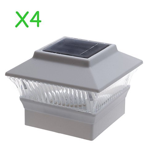 (4 Pack) Solar Power Square White Outdoor Garden Deck 4x4 PVC Fence Post Light by Garden Sunlight (Image #1)