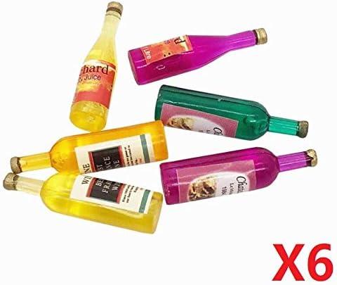6pcs 1//12 Dollhouse Miniature Mini Whiskey Wine Bottle and Cups Shop Bar Model
