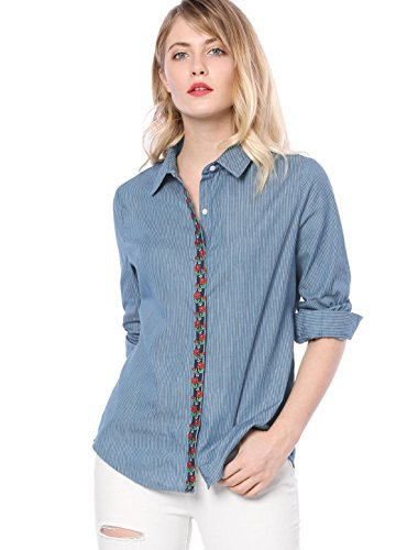 Allegra K Women's Floral Embroidery Striped Button Down Chambray Shirt L Blue