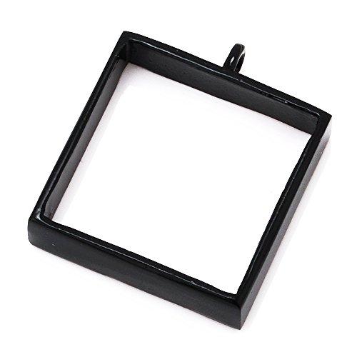 10pcs 2525mm Square Open Back Bezel Pendant, Open