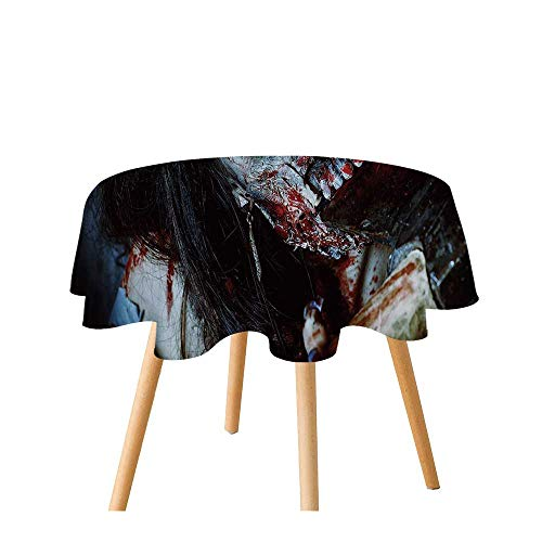 TecBillion Zombie Decor Polyester Round Tablecloth,Scary Dead Woman with Bloody Axe Evil Fantasy Gothic Mystery Halloween Picture for Home Restaurant,31.4