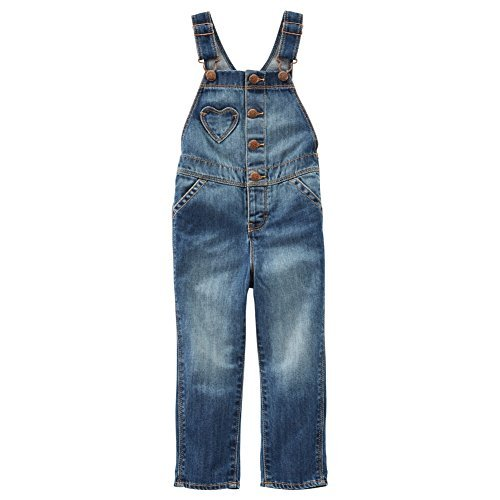 OshKosh B'Gosh Baby Girls Heart Pocket Denim Overalls, 3M - Heart Pocket Jeans