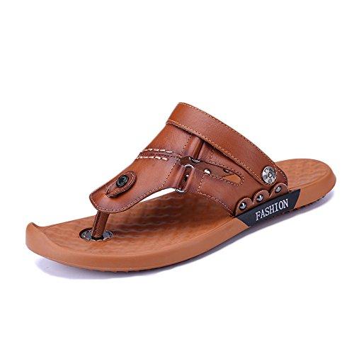 Verano Abierto Deportes Hombre Playa Pie Ajustables Aire Lightbrown De De Al Zapatos del Cómodos Zapatos Ocasionales del Cuero Libre Dedo snfgoij Para De Sandalias qtRwB