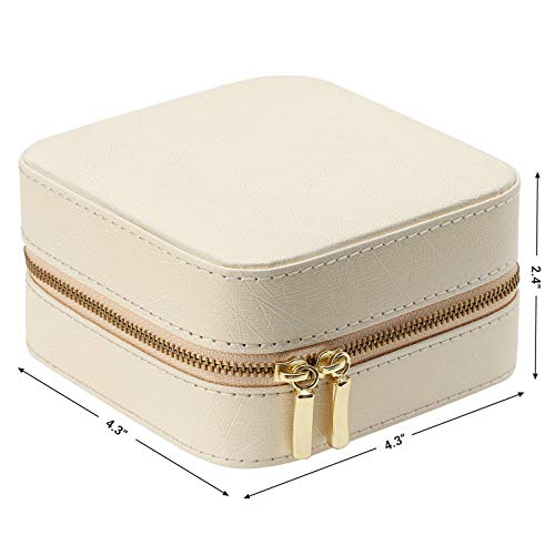 SONGMICS Small Jewelry Box, Travel Case Organizer for Rings Necklaces with Mirror, Beige UJBC146BE