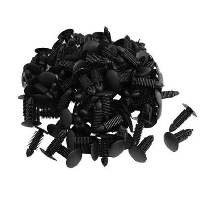 Amazon.com: eDealMax Plaza de plástico 100 piezas Negro vástago remaches Sujetador Fender pegatina de Clips: Automotive