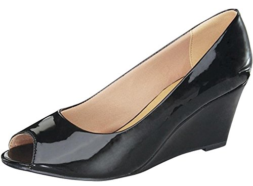 Forever Link Women's Peep Toe Slip On Wedge Pump,6 B(M) US,Black