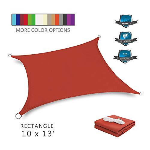 Tuosite Terylene Waterproof Sun Shade Sail UV Blocker Sunshade Patio Rectangle Knitted 220 GSM Block Fabric Pergola Carport Awning 10' x 13' in Color Iron Red