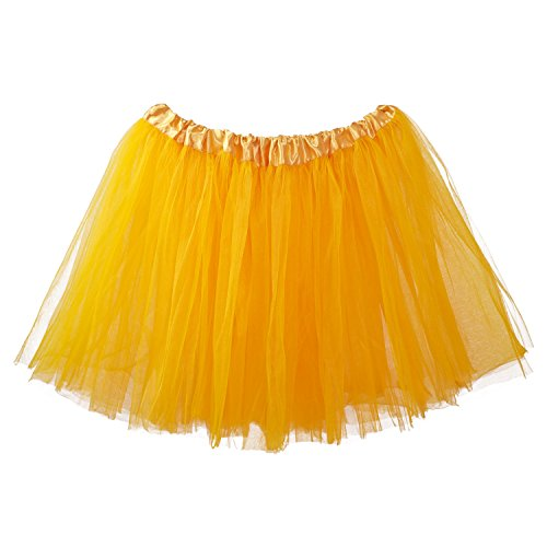 My Lello Adult Tutu Skirt, Classic Elastic 3 Layer Tulle Tutu for Women and Teens - Yellow Gold -