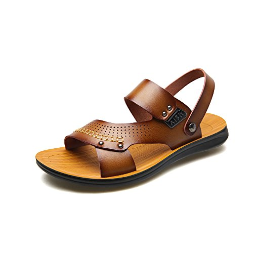 どうやってカナダリードYQQ クールスリッパ ビーチの靴 メンズサンダル 通気性のある カジュアルシューズ ホリデーシューズ 夏 男性 男の子 滑り止め ソフトボトム (色 : カーキ, サイズ さいず : EU39/UK6)