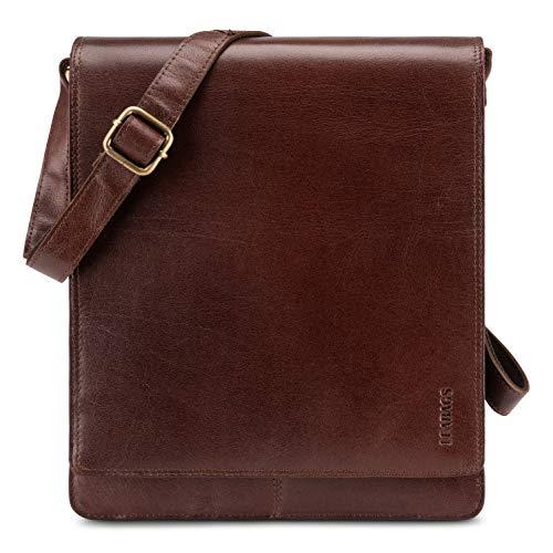 LEABAGS London messenger bag shoulder bag for 13 inch laptop of genuine leather in vintage style - Burgundy