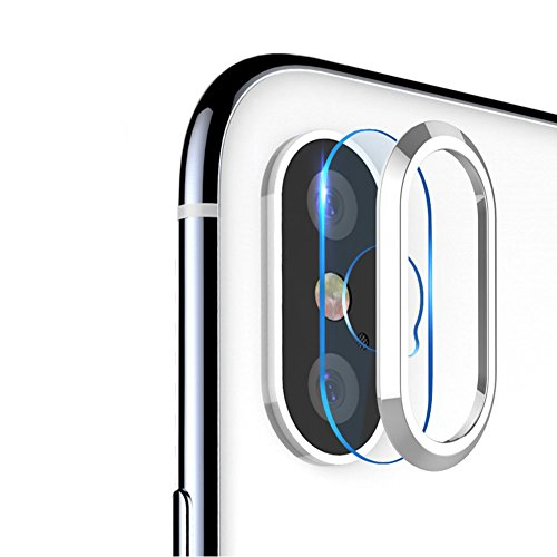 HaloVa IPhone X Camera Lens Protector, Metal Ring Plating Camera Lens Protector, High Definition Tempered Glass Camera Cover for iPhone X, (Digital Camera Lens Protector)