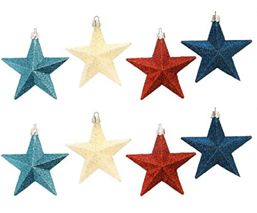 Darice Glitter Star Ornament: Shatterproof, Assorted Colors, 87Mm, 8Piece