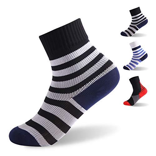 RANDY SUN Boys Ski Socks, Boys Waterproof Breathable Outdoor Skiing Golf Mid-Calf Stripe Soft Team Socks 1 Pair Black and White 4-6 Years