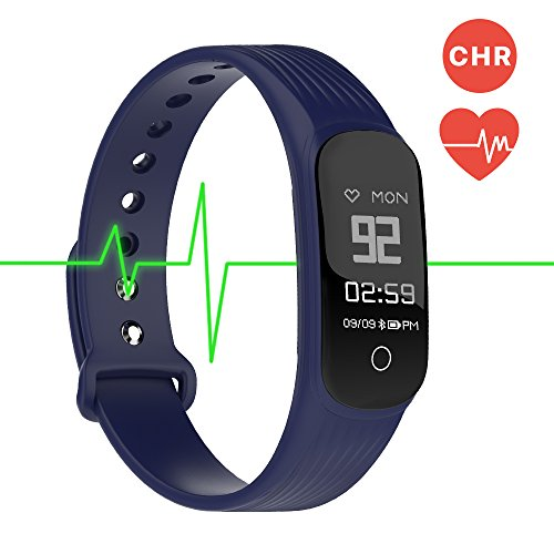Fitness Tracker Smart Band Continuous Heart Rate Monitor, MGCOOL B3 / B4 Activity Tracker Bracelet Sleep Monitor Step Counter Stopwatch Distance Smart Watch Reminder, Christmas Gift (Band4-Blue) (Exercise Heart Monitor For Rate)