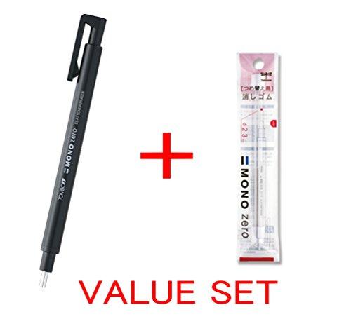Tombow MONO Zero Eraser, Round Tip 2.3mm, Retractable, Black Barrel & 2 Conformity Refills Value Set(With Our Shop Original Product Description)