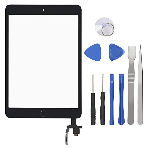 Touch Screen Digitizer for iPad Mini 3-3rd Generation iPad Mini Front Glass Replacement with Home Button & Tool Repair Kit (A1599, A1600) - Black (Ipad 3 Mini Screen Replacement)
