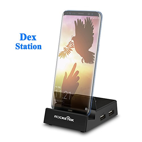 Rocketek USB C Docking Station Compatible with Samsung Galaxy S8/Note8 above - Portable Dock with usb hub&sd card reader/usb c to hdmi converter and USB C PD Charger Replacing the Original Dex Station