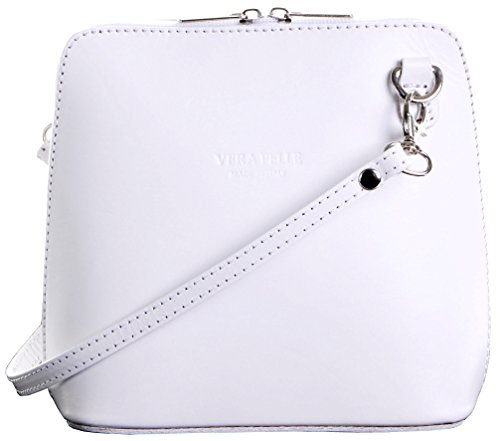 Italian Leather, White Small/Micro Cross Body Bag or Shoulder Bag Handbag. Includes Branded a Protective Storage Bag.
