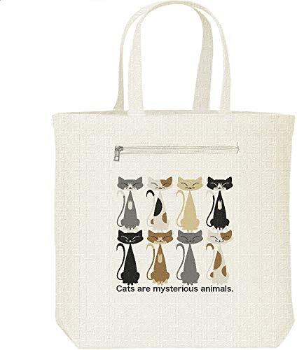 エムワイディエス(MYDS) 猫だくさん(ねこ)/キャンバス トートバッグ・ファスナー ポケット付