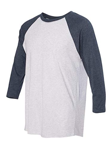 Dark Side Vintage T-shirt - Next Level Women's Rib Collar 3/4 Sleeve T-Shirt, Indigo/ Heather White, Large