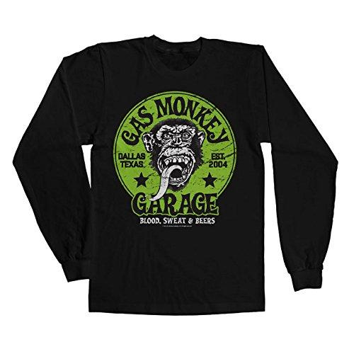 Gas Monkey Garage Officially Licensed Merchandise Green Logo Long Sleeve Tee (Black), X-Large