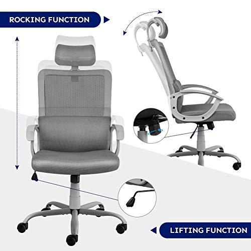 Ergonomic Office Chair Adjustable Headrest Mesh Office Chair Office Desk Chair Computer Task Chair (Light Gray) by Smugdesk        (Image #5)
