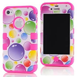 SHHR-HX4G69N Plastic+Silicone Colorful Rainbow Bubbles Design Hybrid case for Apple iPhone4 4s 4G -Hot Pink Color