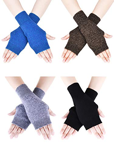(Tatuo 4 Pairs Cashmere Feel Fingerless Gloves with Thumb Hole Warm Gloves for Women and Men (Color Set 8) )