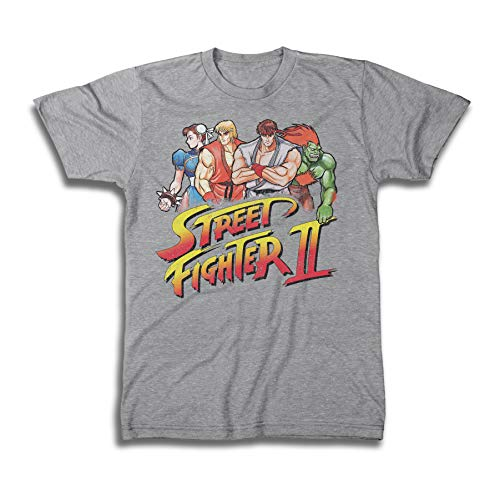 - Street Fighter Mens Classic Shirt Logo Tee Shirt - Capcom Graphic T-Shirt (Heather Grey, Large)