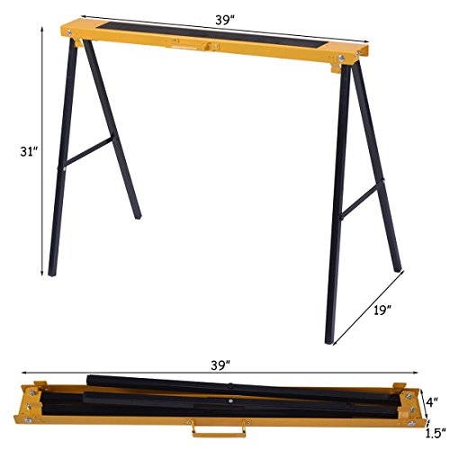 2Pcs Portable Steel Saw Horse Capacity 250 Lbs w/ Foldable Legs by AyaMastro (Image #3)