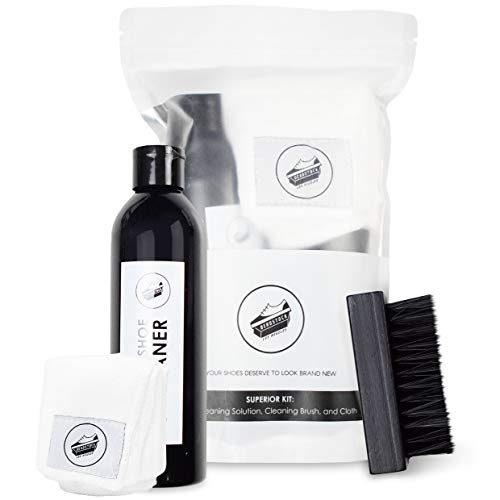 Deadstock Los Angeles Shoe & Sneaker Cleaner Kit - All Natural Solution 8 Oz. Bottle, Brush & Cloth - Suitable for Canvas, Cloth, Mesh, Knit, and MORE! (Best Shoe Cleaning Kit For Jordans)