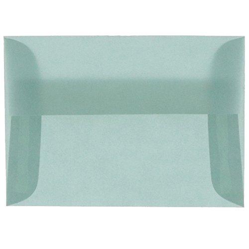 JAM PAPER A2 Translucent Vellum Invitation Envelopes - 4 3/8 x 5 3/4 - Ocean Blue - 25/Pack ()