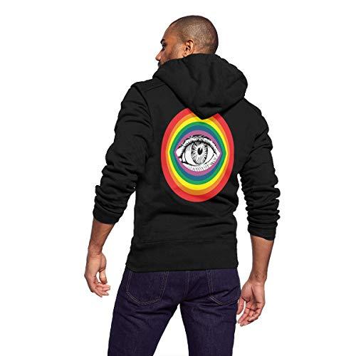 GLYASDI.S Mens Fleece Hoodie for Men Women Pullover Hooded Sweatshirt Zipper Outwear Trucker Jacket Fashion Coat - Rainbow Eye Cup Eye of Providence for $<!--$32.99-->