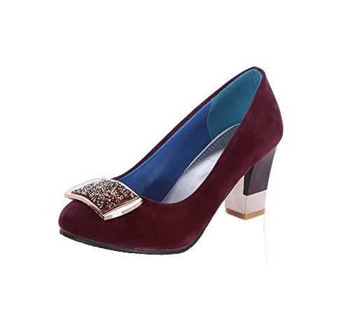 VogueZone009 Women's Kitten-Heels Frosted Studded Pull-on Round-Toe Pumps-Shoes Claret fwRAA
