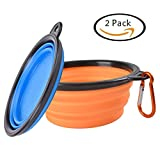Pet Travel Collapsible Dog Bowl - SOWOKO (2 Pcs) Pet Food and Water Feeding Bowls For Beach Camping Running & Hiking Portable Foldable Cup Dish with Carabiner,Safe Eco-Friendly Silicone BPA Free