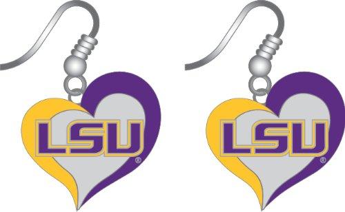 LSU Tigers Louisiana Swirl Heart Dangle Logo Earring Set Charm Gift (Lsu Tigers Gift Set)