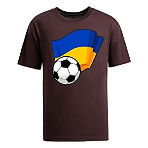 Custom Mens Cotton Short Sleeve Round Neck T-shirt,2014 Brazil FIFA World Cup Soccer Flags brown by runtopwell